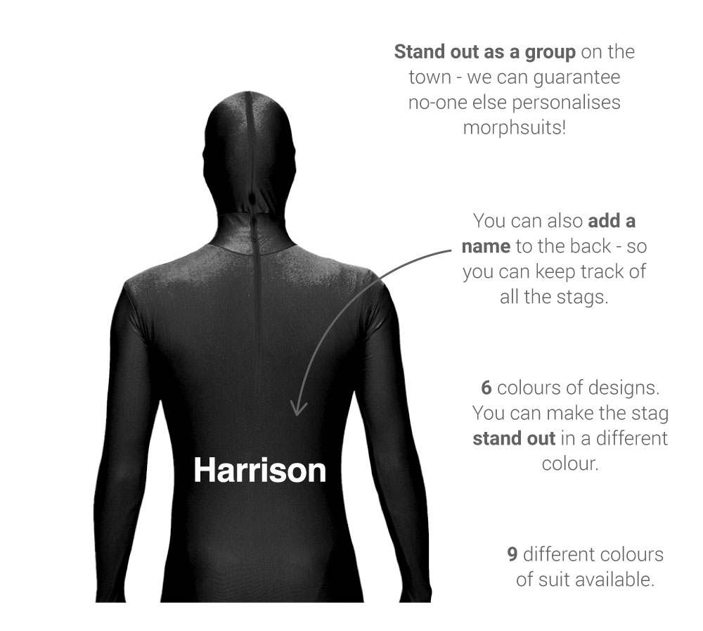 About our personalised morphsuits - back view: names can be added to the back, choose from 20 designs, 9 colours of suit and 6 design colours available genuine morphsuit, sizes from small to XXL