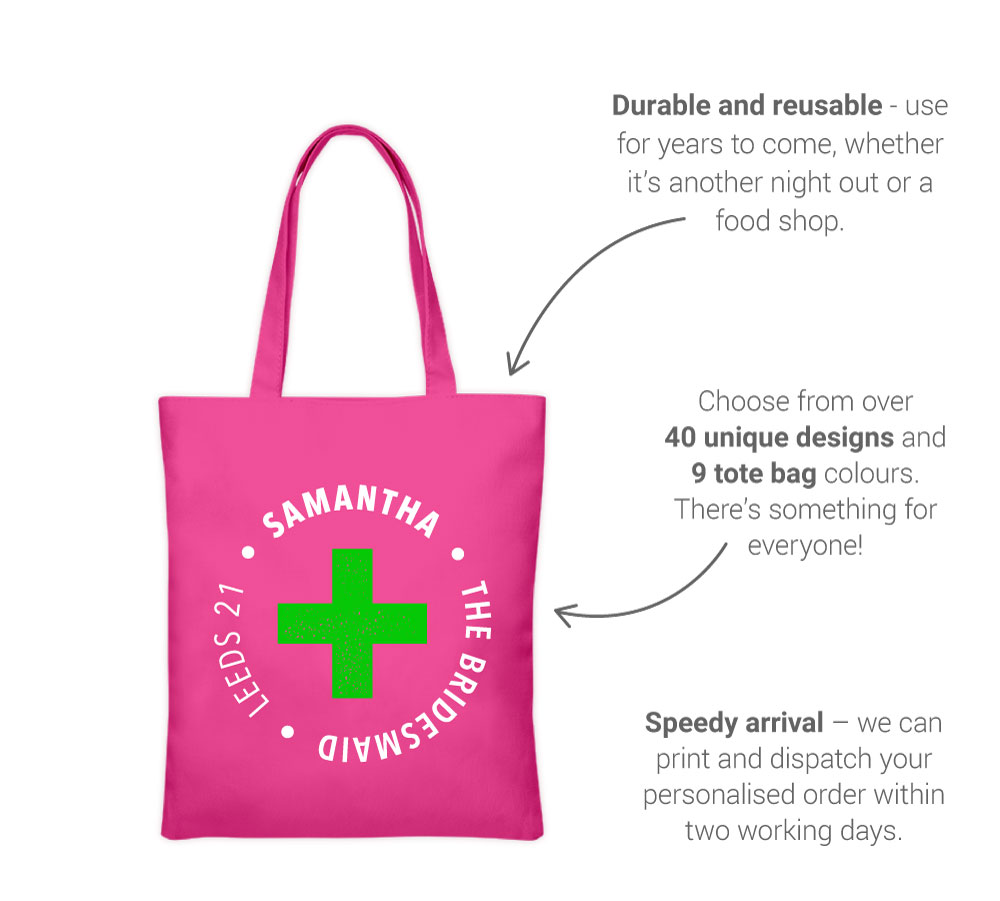 Our hen party tote bag features - back view: Available in 9 colours, dispatch in 48 hours, reusable and reliable