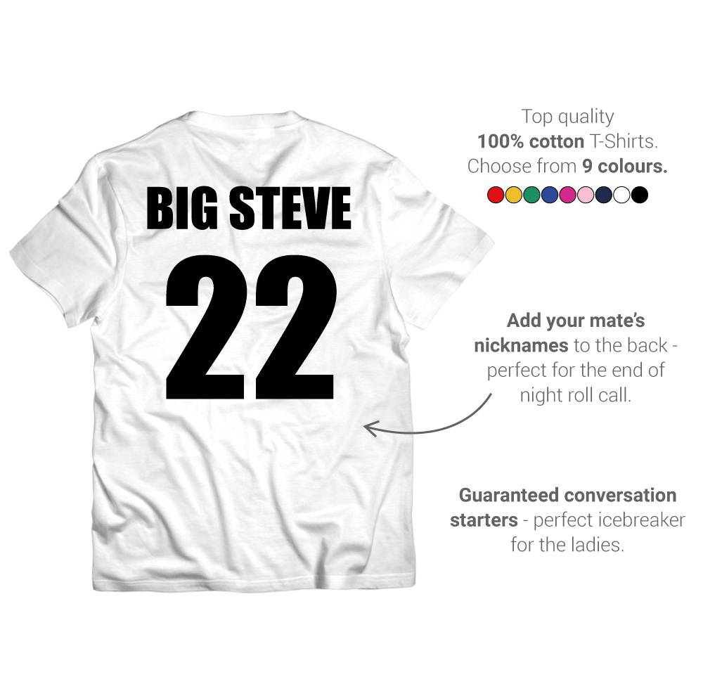 LNOF's stag do t-shirt features – back view – back print number and names, fruit of the loom, many colourways