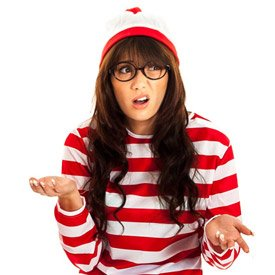 A girl wearing a Where's Wally? Fancy dress costume, looking confused