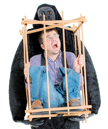 Stag Do Fancy Dress - Man in Cage Gorilla Costume