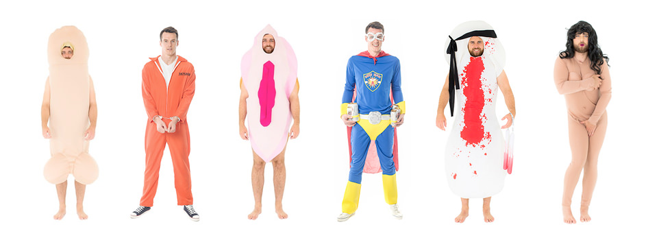 Six different extra large costumes