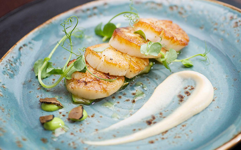 A plate of four scallops on pea puree