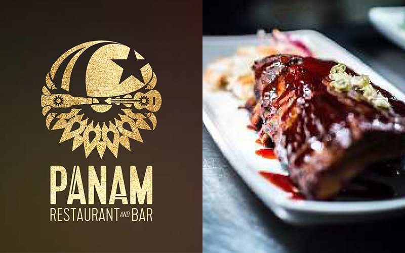 Split image of the PANAM bar and restaurant logo, and ribs on a plate