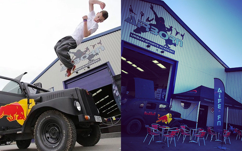 Split image of a man jumping over the bonnet of a car, and the exterior of Airborn Academy