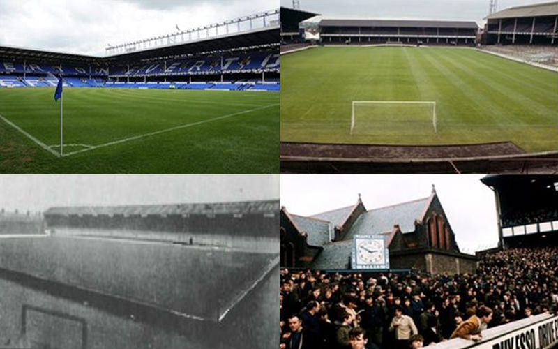 Split image of the pitch at Goodison Park through various decades, and people outside the stadium