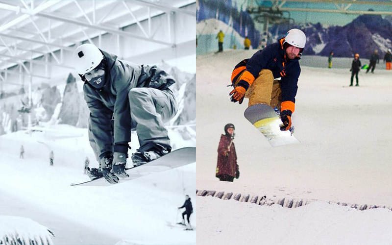 Split image of two men snowboarding at the indoor snow park