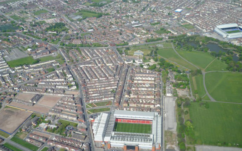 Birds eye view of a city and surrounding area