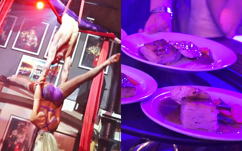 A split image, one of two acrobats holding a pose whilst balancing on each other, and one of three plates of food