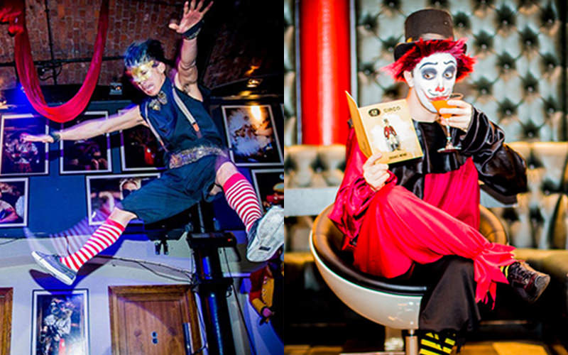 A split image, one of an acrobat jumping high into the air, and one of a mime act reading a book and sipping a cocktail