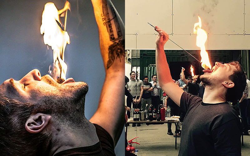 A split image, both of men holding flaming sticks to their mouths
