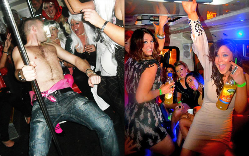 A split image, one of a topless man on the party bus and one of some girls partying and drinking on the party bus