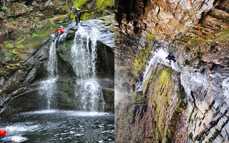 A split image of two men out in the wild outdoors during canyoning