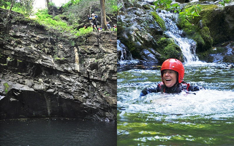 A split image of one man about to jump off a tall rockface, and one man resurfacing through the water after a jump