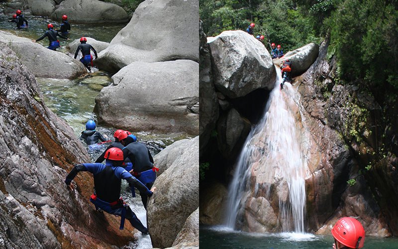 A split image, one of a group of people scaling rocks to get into the water, and one of a group of people climbing down a waterfall