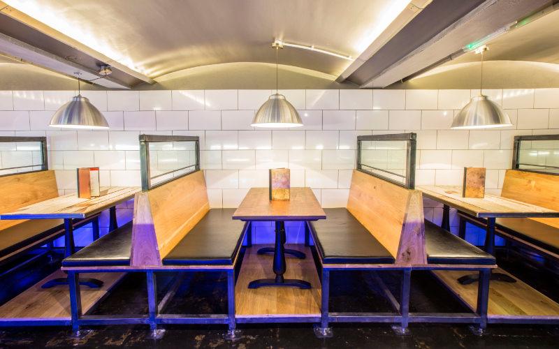 Dining kitchen area at belgo resturant.