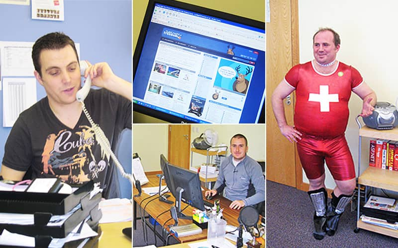 Split image of a man on the phone, a computer screen with the old LNOF website on, a man at a desk, and a man in a red, skintight outfit with a white cross emblazoned on the front