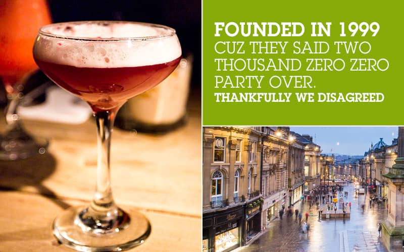 Split image of a red cocktail and Newcastle's Grey Street at night, along with white text in a green box.
