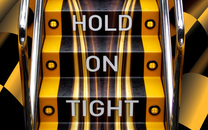 Hold on Tight written on three yellow steps
