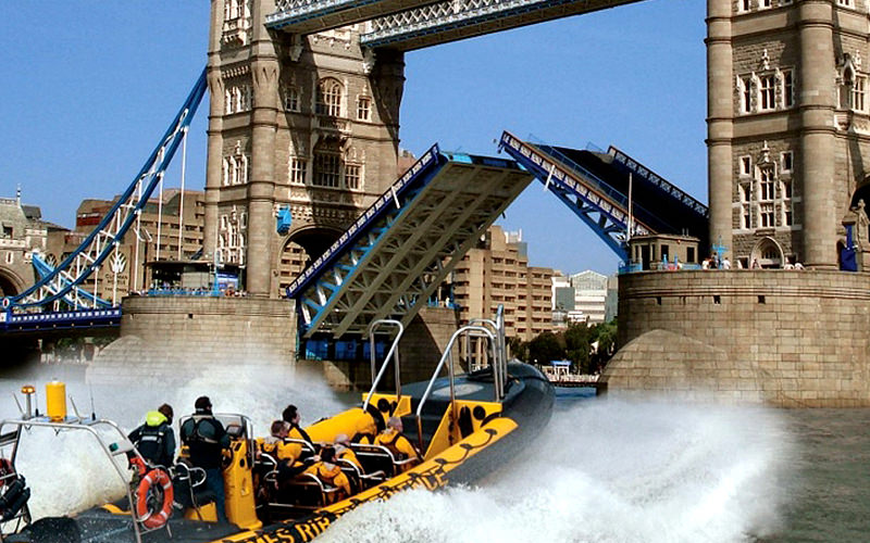 RIB boat going up to the Tower Bridge in London