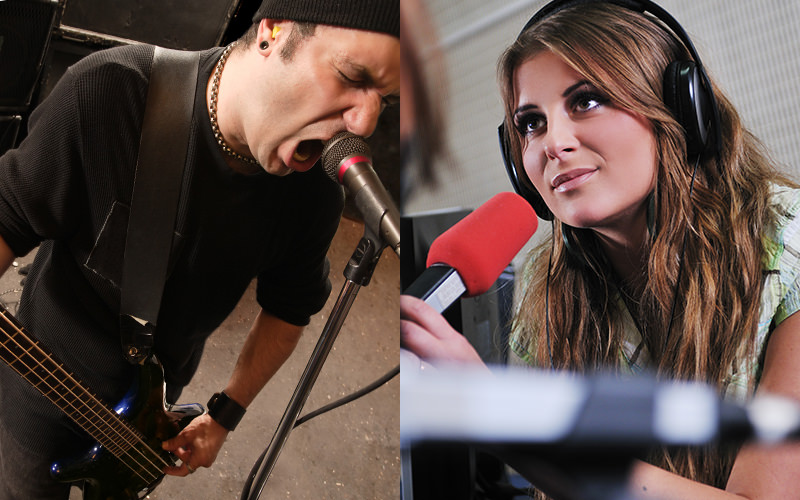 Split image of a man singing into a mic, with a woman wearing headphones and holding a red mic
