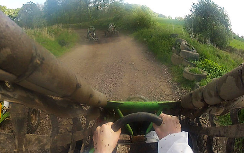 Driver view of buggy racing