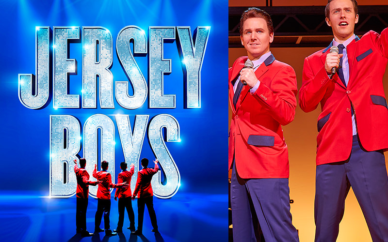 Jersey boys logo and picture of two members of the Jersey Boys.