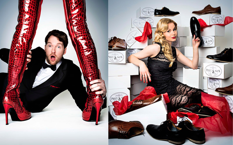 Split image of a man in suit holding onto red boots, and a woman sitting amongst show boxes and shoes