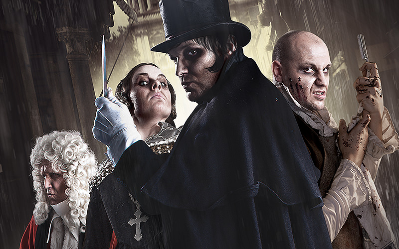 4 characters from the London Dungeon experience in fancy dress