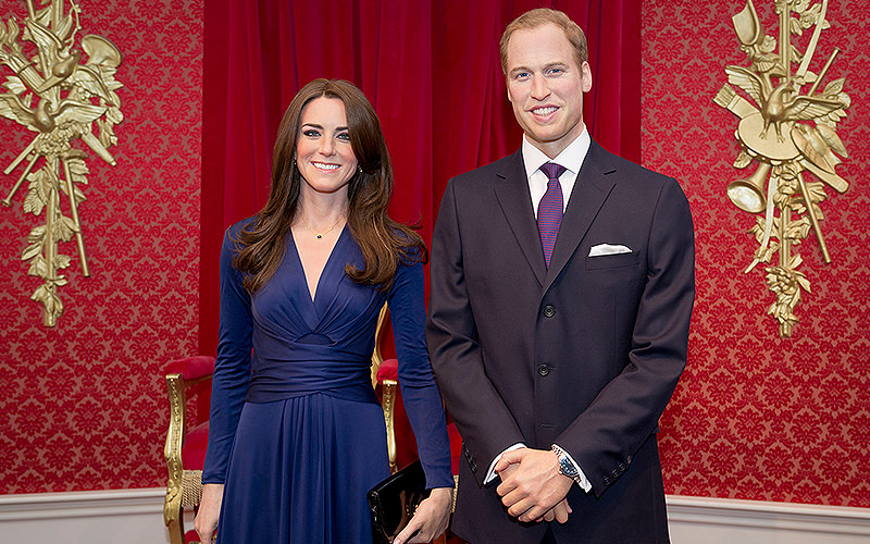 Waxwork models of Kate Middleton and Prince William at Madame Tussauds in London