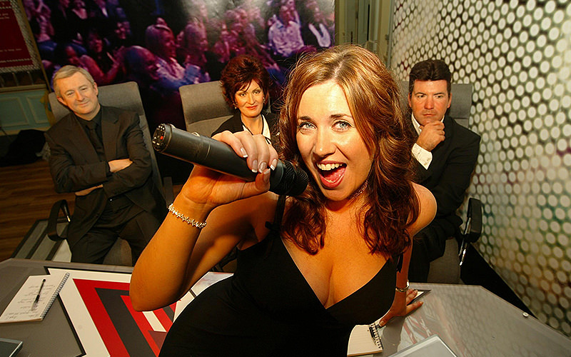 Waxwork models of Myleene Klass and the X Factor judges in Madame Tussauds in London