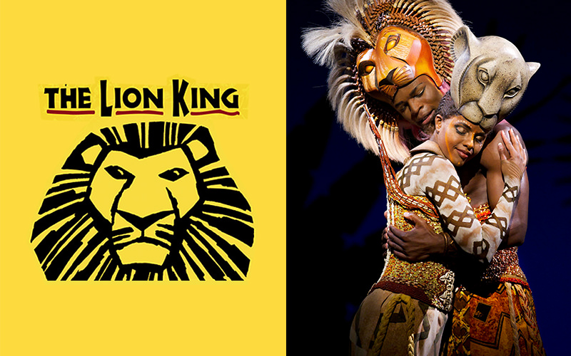 The Lion King the Musical logo and two actors on stage performing