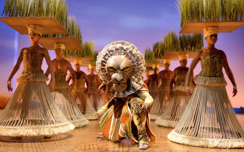 The Lion King The Musical actors on stage at the Lyceum Theatre