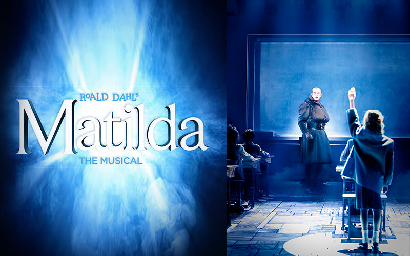 Split image of Matilda the Musical logo and a girl putting her hand up on stage
