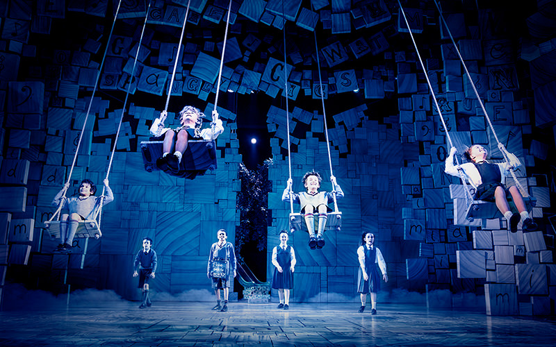 Children swinging on stage at Matilda the Musical