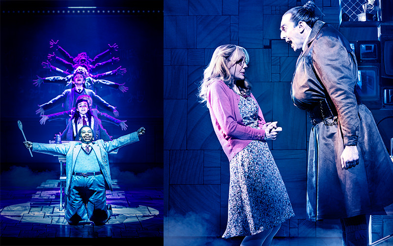 Split image of actors performing on stage at Matilda the Musical