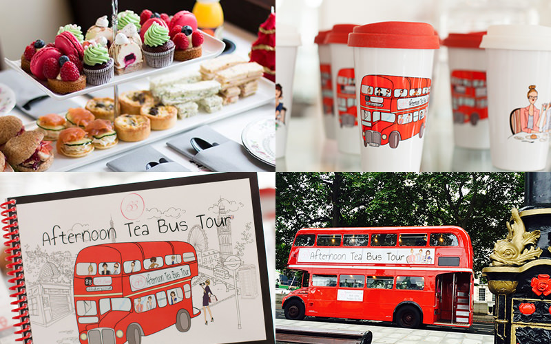 Four tiled images - inclufing one of a red double decker bus, coffee cups with red buses on and an afternoon tea bus tour book