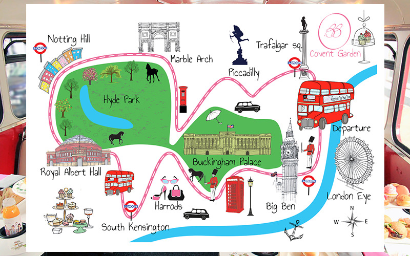 The guided tour map from the London Bus Afternoon Tea Tour