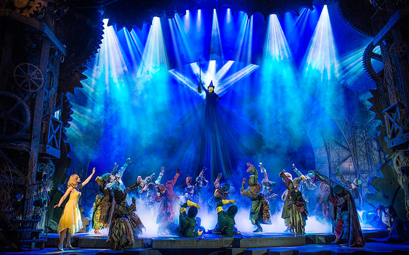 Blue lighting and stage smoke, wicked theatre performance, London