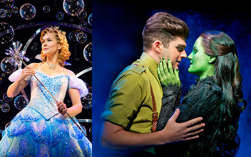 Split image of a fairy godmother and a green witch and a man performing at Wicked the Musical, London