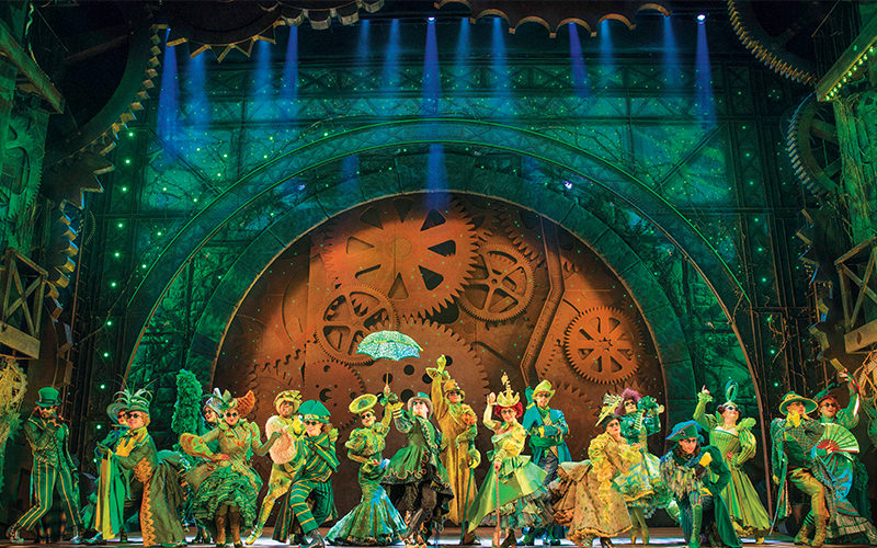 Actors on stage performing at Wicked the Musical, London