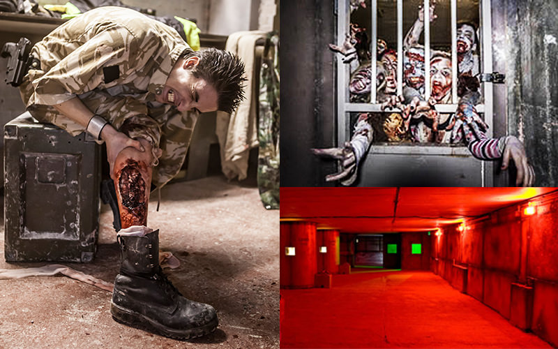 Split image of a man in camouflage holding his leg, and zombies poking through metal bars
