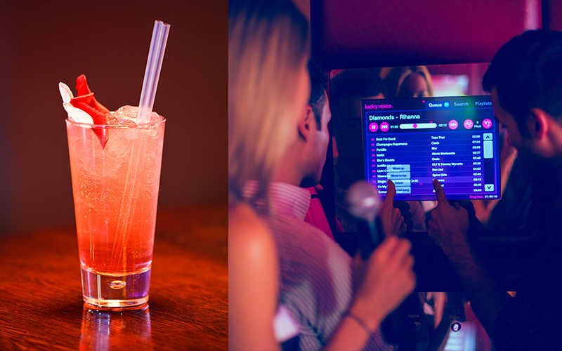 Split image of a red cocktail, and three people staring at a screen displaying different song titles