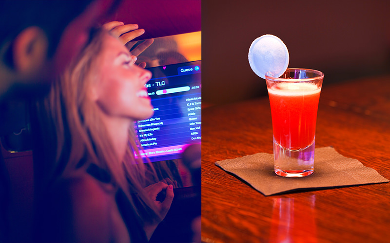 Split image of a red cocktail, and TV screen displaying song titles with a woman and man in the foreground