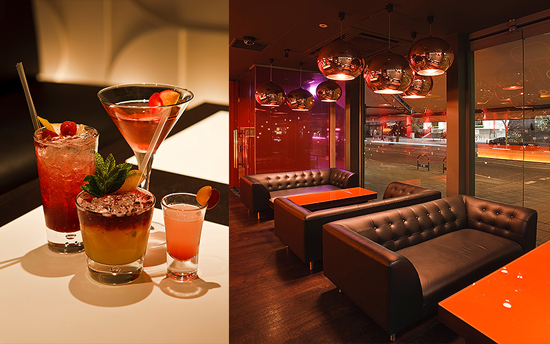Split image of four different cocktails on a white table, and black leather sofas in front of wooden table