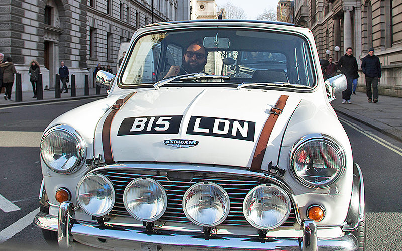 A white, vintage Mini Cooper in London