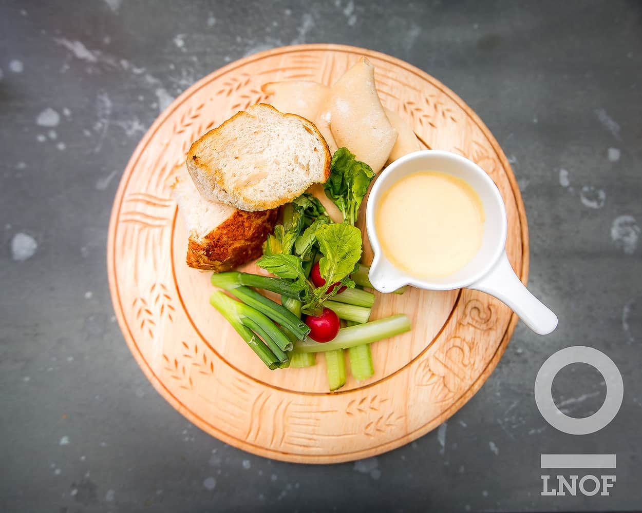 Welsh rarebit fondue with celery, crusty bread and spring onions at The Botanist in Newcastle