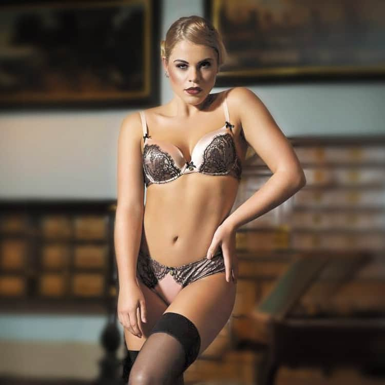 Lia Sundin modelling sexy lingerie for GQ magazine