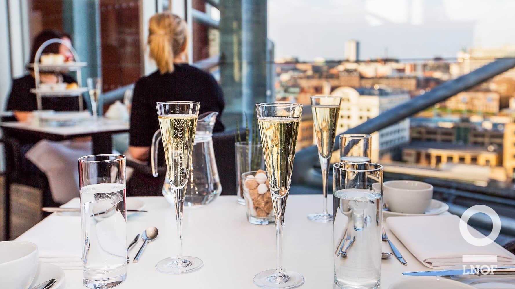 Champagne flutes in restaurant