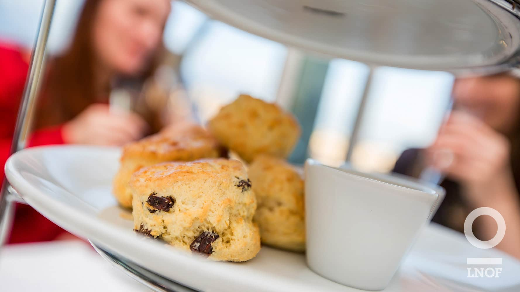 Raisin Scones on white plate